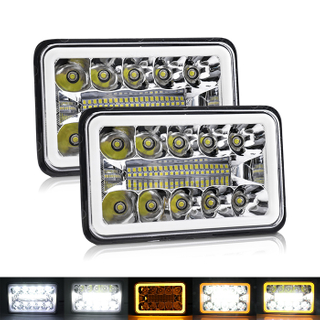 4x6 Inch Muti-Colors Circle Angel Eyes Rectangular Led Headlight JG-1002-HP